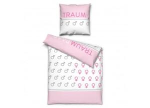Microfaser Bettwäsche Traumpaar weiß/rosa