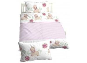 Baumwoll Kinder Bettwäsche Linon weiß/rosa 135 x 100 cm