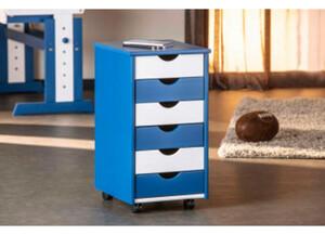 Rollcontainer Beppo, blau/weiss lackiert, 6 SL