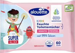 alouette 4er-Pack feuchte Toilettentücher Sensitiv Kids
