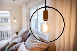 SPOT Light Pendelleuchte »CARSTEN WOOD«, Hängeleuchte, Moderne Leuchte aus Metall und Eichenholz, passende LM E27/exklusive, Made in Europe