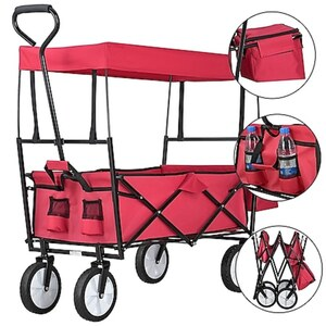 Juskys Bollerwagen faltbar mit Dach & Tasche   Gummiräder   Stoff schmutzabweisend   Handwagen rot