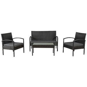 Juskys Polyrattan Balkonmöbel Trinidad schwarz, 4 Personen - Tisch, Bank, 2 Stühle, graue Auflagen