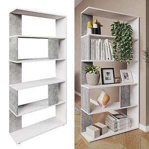 Vicco Raumteiler Bücherregal Standregal Büroregal Regal 5 Fächer Weiß Beton