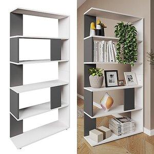 Vicco Raumteiler Bücherregal Standregal Büroregal Regal 5 Fächer Weiß Anthrazit