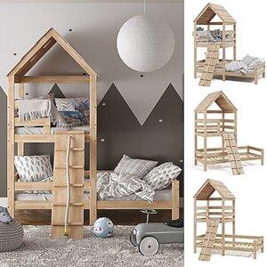 VitaliSpa Kinderbett Teddy 90x200cm Spielturm Bett Spielbett Jugendbett Hausbett Natur