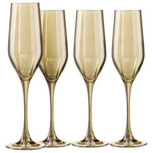 CreaTable Sektglas 23521 Serie Glamour Roségold 4-teilig tranparent/roségold, Transparent