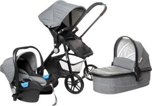 Osann Kombi-Kinderwagen POP 3-in-1 inkl. Babyautositz - elegantes Aluminiumgestell - grau , schwarz
