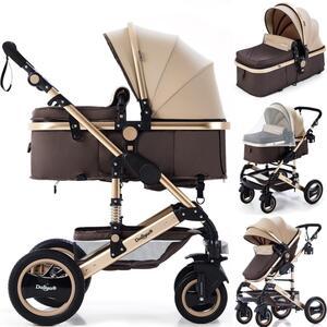 2in1 Kinderwagen Bambimo Kombikinderwagen 9-Teile Set in Gold-Braun incl. Babywanne & Buggy & Alu-Gestell & Gummireifen & mehr