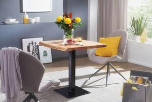 WOHNLING Esstisch Baumkante 80 x 75 x 75 cm Akazie Massivholz Esszimmertisch   Kleiner Holztisch Esszimmer   Designer Küchentisch Quadratisch