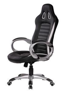 AMSTYLE Bürostuhl/Schreibtischstuhl RACER Leder-Optik, Schwarz