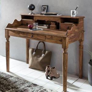 WOHNLING Schreibtisch KADA Massivholz Sheesham   Sekretär 115 x 100 x 60 cm mit 3 Schubladen   Konsolentisch im Landhaus-Stil