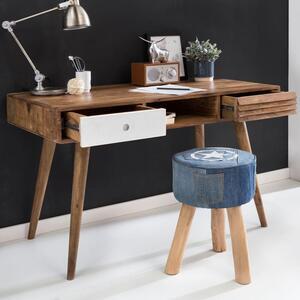 WOHNLING Schreibtisch REPA weiß 120 x 60 x 75 cm Massiv Holz Laptoptisch Sheesham Natur   Landhaus-Stil Arbeitstisch mit 2 Schubladen   Bürotisch PC-Tisch