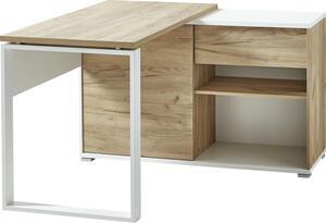 Germania Schreibtisch mit integriertem Regal  4156-513 GW-Lioni in Weiß/Navarra-Eiche-Nb., mit Schiebetür und Schubkasten , 120 x 75 x 117 cm (BxHxT)