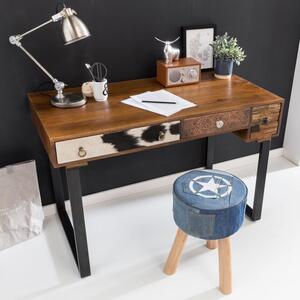 WOHNLING Schreibtisch PATNA 120 x 60 x 79 cm Massiv Holz Laptoptisch Mango Natur   Landhaus-Stil Arbeitstisch mit Schubladen   Bürotisch PC-Tisch