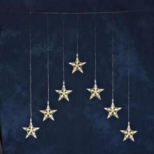 Konstsmide - LED Lichtervorhang mit 7 Sternen, 35 warm weiße Dioden, 24V Außentrafo, transparentes Kabel ; 1243-103
