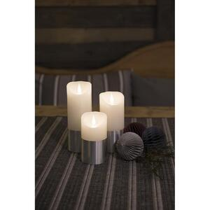 KONSTSMIDE LED Echtwachskerze, weiß, Banderole silber, 3D Flamme,  Ø 7,5 cm, Höhe: 17,5 cm, Timer