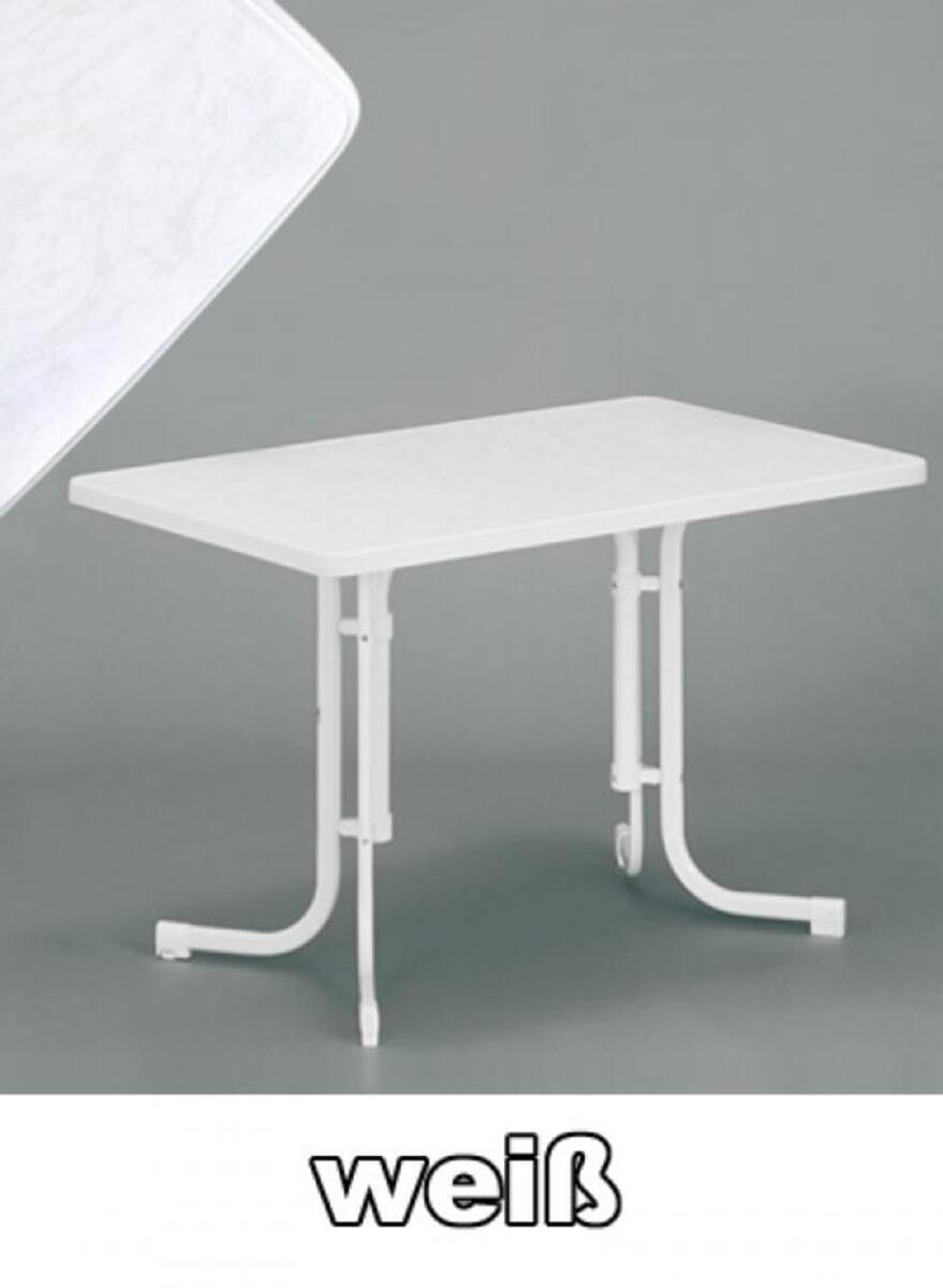Bild 1 von SIEGER Gartentisch / Klapptisch 115x70cm Stahl weiß / Mecalit weiß