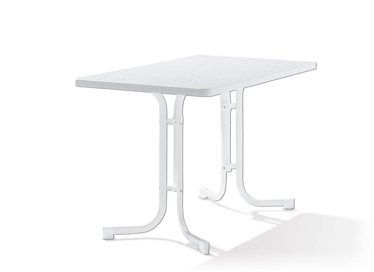 Bild 2 von SIEGER Gartentisch / Klapptisch 115x70cm Stahl weiß / Mecalit weiß
