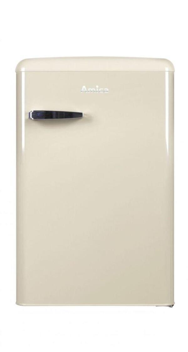Amica KS 15615 B, Kühlschrank mit Gefrierfach im Retro Design, 85 cm Höhe, coffee cream,