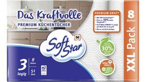 SoftStar Das Kraftvolle Premium Küchentücher  8x51 Blatt, 3-lagig