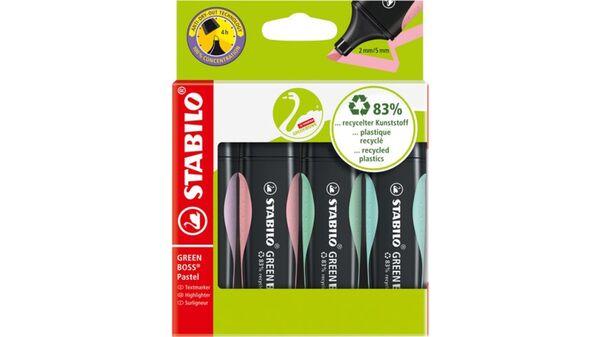 STABILO® Umweltfreundlicher Textmarker - STABILO GREEN BOSS Pastel - 4er Pack - Hauch von Minzgrün, rosiges Rouge, zartes Türkis und Schimmer von Lila