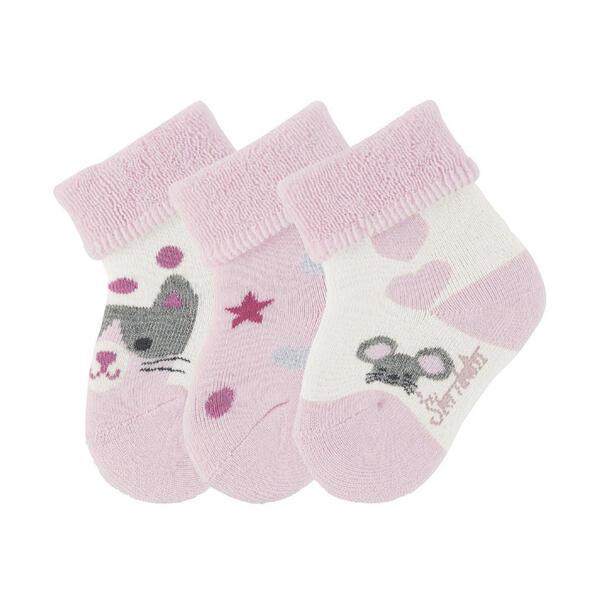 Sterntaler Babysöckchen 3er-pack  8401923 Katze  Rosa