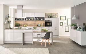 Einbauküche Flash, Lacklaminat Hochglanz schiefergrau, inklusive Siemens Elektrogeräte