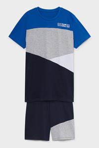 C&A Shorty-Pyjama-Bio-Baumwolle-2 teilig, Blau, Größe: 140