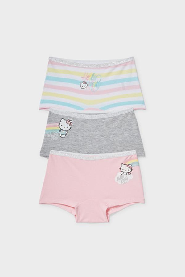 C&A Multipack 3er-Hello Kitty-Boxershorts-Bio-Baumwolle, Rosa, Größe: 92
