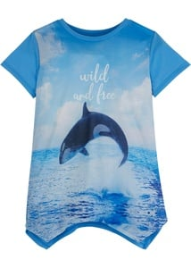 Mädchen T-Shirt mit Fotodruck und Zipfelsaum