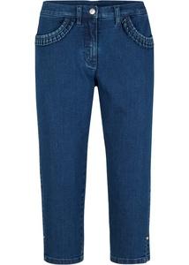 Capri-Stretch-Jeans mit Rüschen-Taschen-Detail