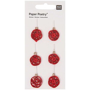 Paper Poetry Quilling Sticker rote Weihnachtskugeln