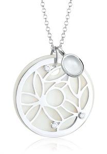 Elli Kette mit Anhänger Ornament Perlmutt Edelsteine 925 Sterling Silber