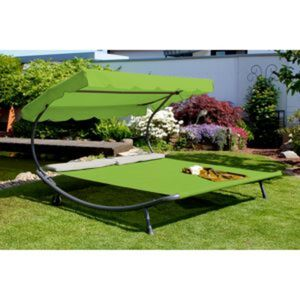 Leco Gartendoppelliege mit Dach grün/grau 200 x 200 x 110 cm
