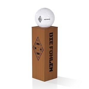 BMG LED-Dekosäule Rost-Optik 84cm 3V braun mit Leuchtkugel in Fußball-Optik