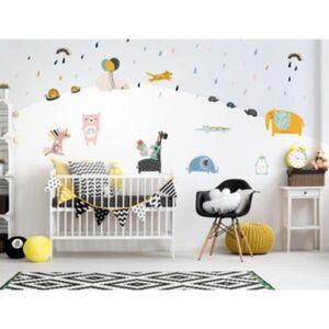 Wandtattoo Set Pastell Tiere mit Luftballons Wandtattoos mehrfarbig Gr. one size