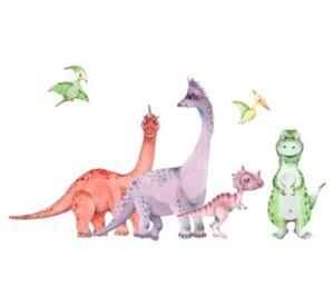 Wandtattoo Aquarell Tiere - Dino Land und Luft Wandtattoos mehrfarbig Gr. 200 x 110