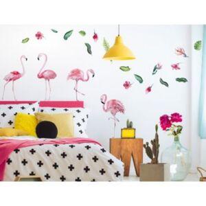 Wandtattoo Set Aquarell Flamingo mit Pflanzen Wandtattoos mehrfarbig Gr. one size