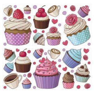 Wandtattoo Set Cupcakes, Kaffeetassen und Herzen 20 Stück Wandtattoos mehrfarbig Gr. one size