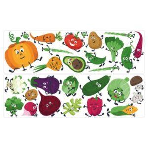 Wandtattoo Set Gemüse Avocado Zucchini Kürbis mit Augen Wandtattoos mehrfarbig Gr. one size