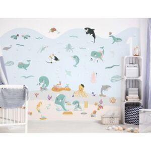 Wandtattoo Set Wale, Delfine, Schildkröten, Fische, Ozean Wandtattoos mehrfarbig Gr. one size