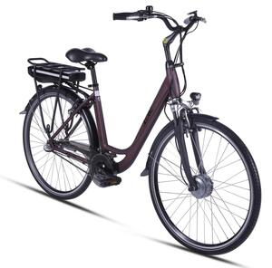 "E-Bike 28"" Alu City Bike Metropolitan JOY bordeaux-rot 36V/8Ah,  3-Gang Shimano"