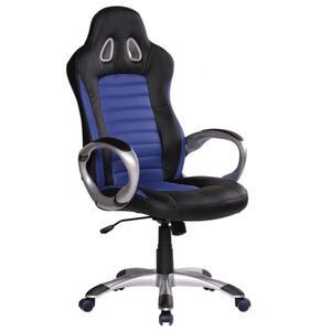 Amstyle Bürostuhl RACER Blau Gaming Chefsessel mit Armlehne gepolstert 110 kg Sport-Sitz Drehstuhl Kopfstütze Race Schreibtischstuhl Gamer Design Modern Drehsessel Racing