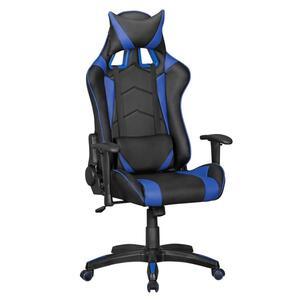 AMSTYLE SCORE - Gaming Chair aus Kunstleder in Schwarz/Blau  Schreibtisch-Stuhl in Leder-Optik   Design Racing Chefsessel mit Armlehne   Gamer Bürostuhl mit Racer Sport-Sitz und Kopfstütze