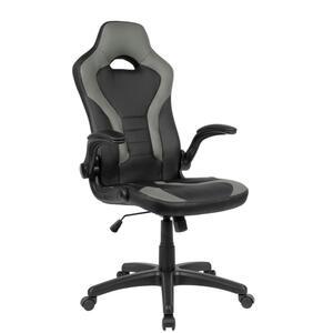 AMSTYLE Gaming-Drehstuhl Bezug Kunstleder Schwarz/Grau Schreibtischstuhl bis 120 kg   Büro-Drehsesssel mit beweglichen Armlehnen & hoher Rückenlehne
