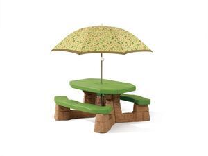 Step2 Naturally Playful Picknicktisch mit Sonnenschirm   Picknickbank für Kinder aus Kunststoff
