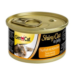 GimCat Katzenfutter ShinyCat Thunfisch mit Hühnchen in Jelly 24x70g