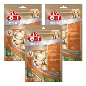 8in1 Hundesnacks Delights Kauknochen Huhn im Beutel 63 Stück XS
