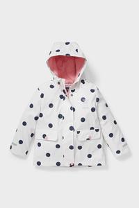 C&A Regenjacke mit Kapuze-gepunktet, Weiß, Größe: 128